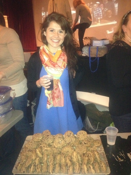 Drinking vino while working the table at the Brooklyn Cookie Takedown