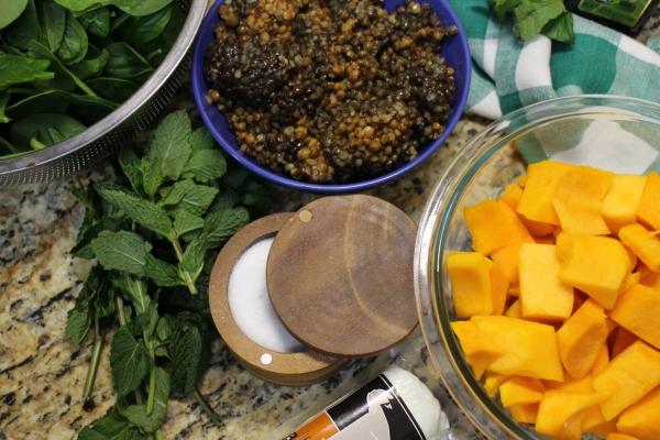 Spicy Butternut Squash Salad Prep