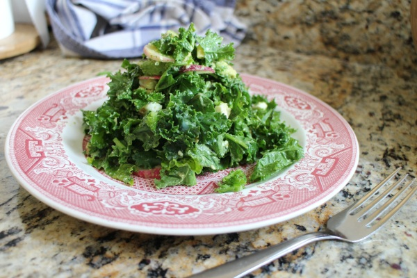 Kale Salad with Ricotta Salata and Creamy Avocado Dressing