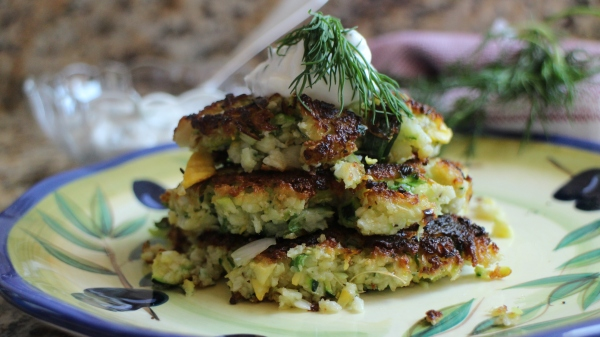 Kohlrabi and Summer Squash Fritters with Yogurt Dill Sauce