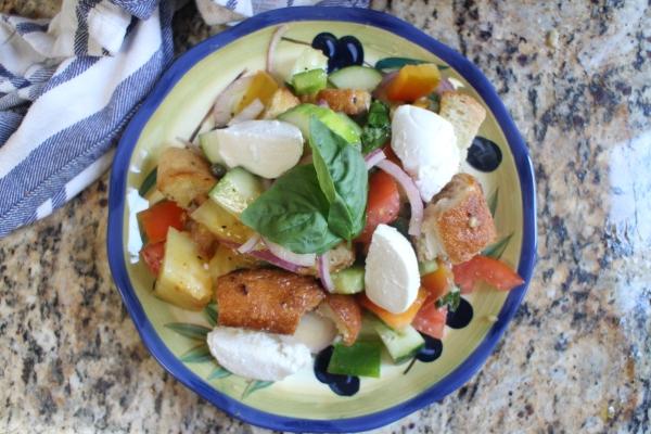 Panzanella Salad with Heirloom Tomatoes and Bocconcini