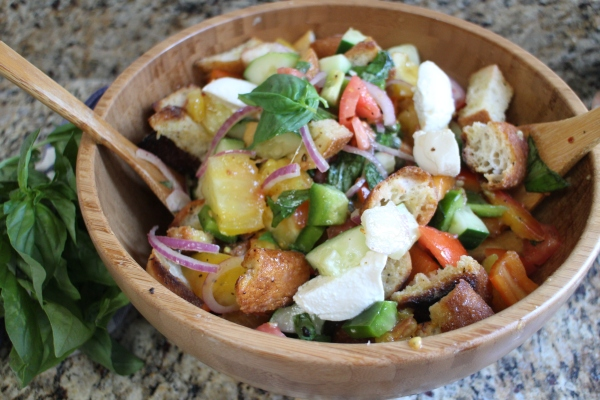 Panzanella Salad with Heirloom Tomatoes and Bocconcini