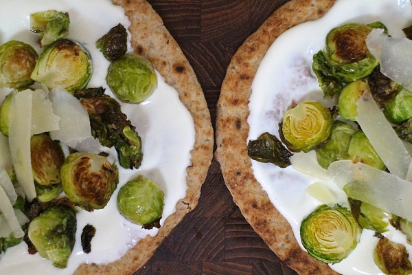 Roasted Brussels Sprouts Flatbread with Creamy Greek Yogurt