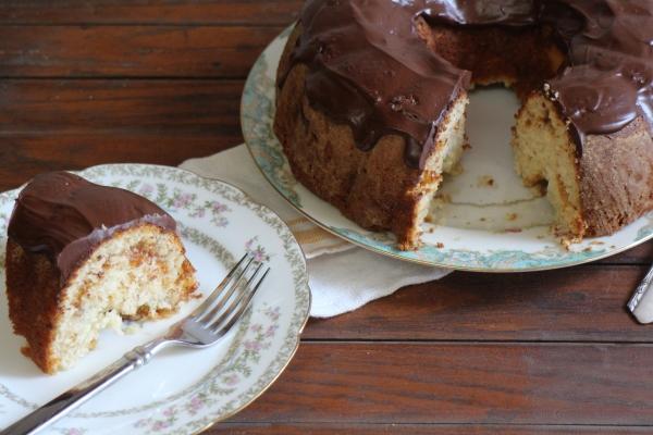 Almond Apricot Bundt Cake with Dark Chocolate Ganache